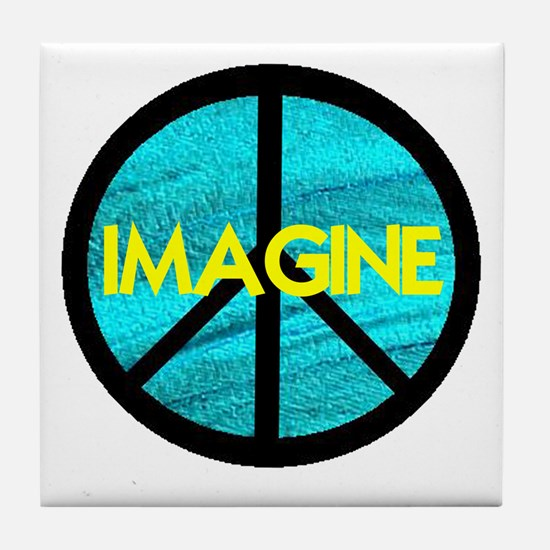 IMAGINE with PEACE SYMBOL Tile Coaster