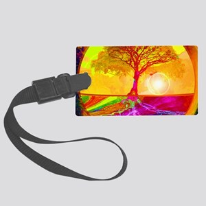 Gold Sunlight Tree of Life Large Luggage Tag