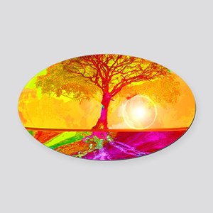 Gold Sunlight Tree of Life Oval Car Magnet