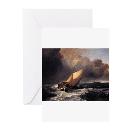 Dutch Boats in a Gale Greeting Cards (Pk of 20)