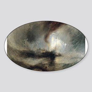 Snow Storm Steam Boat Sticker (Oval)