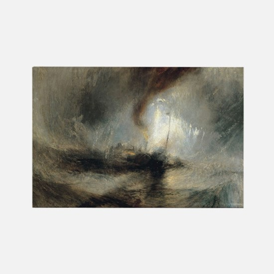 Snow Storm Steam Boat Rectangle Magnet