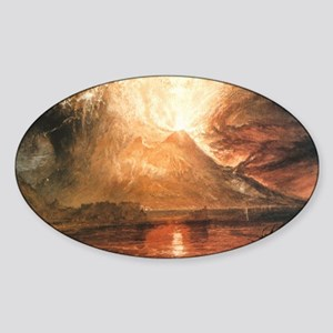 Vesuvius Erupting Sticker (Oval)
