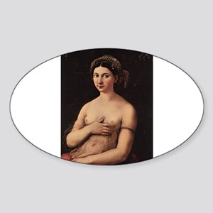 Portrait of a Young Woman Sticker (Oval)