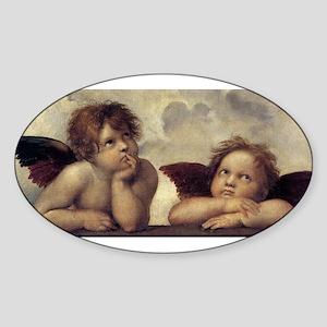 The Sistine Madonna (detail) Sticker (Oval)