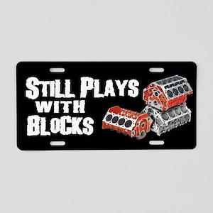 Still Plays With Blocks Aluminum License Plate