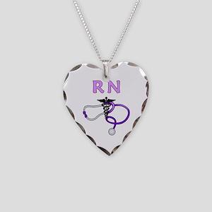 RN Nurse Medical Necklace Heart Charm