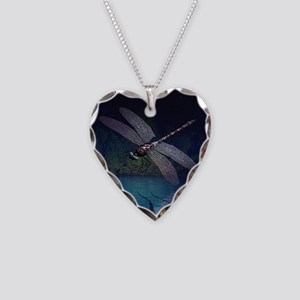 Dragonfly at Night Necklace Heart Charm