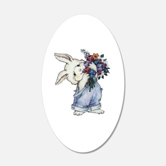 Bunny with Flowers 22x14 Oval Wall Peel