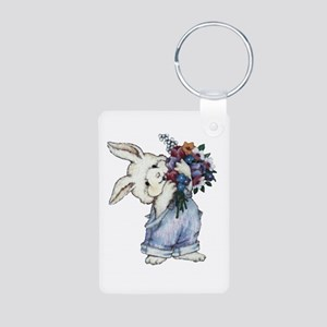 Bunny with Flowers Aluminum Photo Keychain