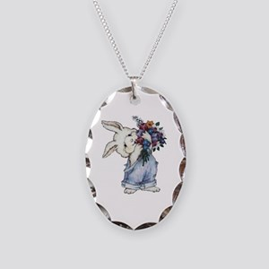 Bunny with Flowers Necklace Oval Charm