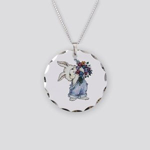 Bunny with Flowers Necklace Circle Charm