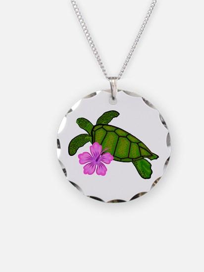 Colored Sea Turtle Hibiscus Necklace