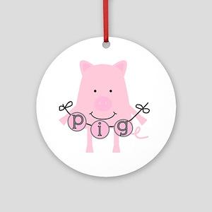 Cartoon Pig Ornament (Round)