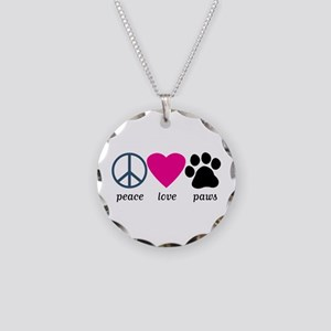 Peace Love Paws Necklace Circle Charm