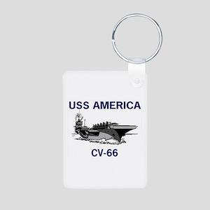 USS AMERICA CV-66 Aluminum Photo Keychain
