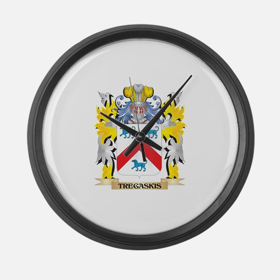 Tregaskis Family Crest - Coat of Large Wall Clock