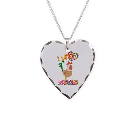 I Love Roosters Necklace Heart Charm