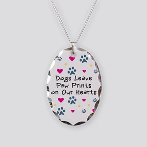 Dogs Leave Paw Prints Necklace Oval Charm