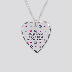 Dogs Leave Paw Prints Necklace Heart Charm