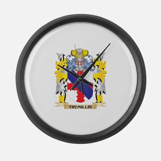 Tremillin Family Crest - Coat of Large Wall Clock