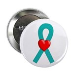 Teal Ribbon Heart Button