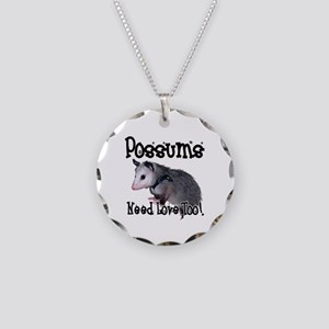 Possums Need Love Necklace Circle Charm