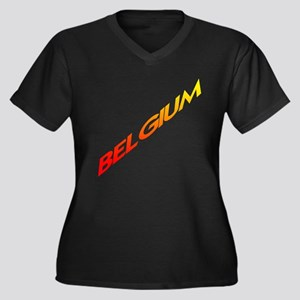BELGIUM Women's Plus Size V-Neck Dark T-Shirt