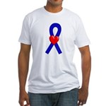 Blue Ribbon Heart Fitted T-Shirt
