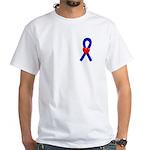 Blue Ribbon Heart White T-Shirt