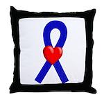 Blue Ribbon Heart Throw Pillow