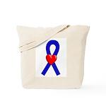 Blue Ribbon Heart Tote Bag