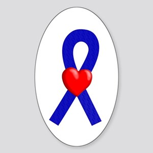 Blue Ribbon Heart Oval Sticker
