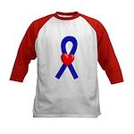 Blue Ribbon Heart Kids Baseball Jersey