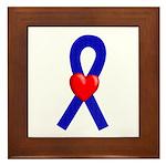 Blue Ribbon Heart Framed Tile