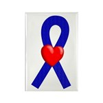 Blue Ribbon Heart Rectangle Magnet (100 pack)
