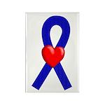 Blue Ribbon Heart Rectangle Magnet (10 pack)