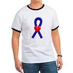 Blue Ribbon Heart Ringer T