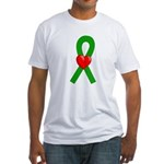 Green Ribbon Heart Fitted T-Shirt