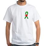 Green Ribbon Heart White T-Shirt