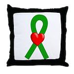 Green Ribbon Heart Throw Pillow