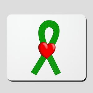 Green Ribbon Heart Mousepad
