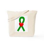 Green Ribbon Heart Tote Bag