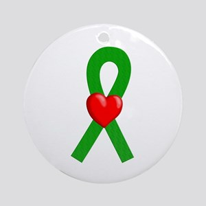 Green Ribbon Heart Ornament (Round)