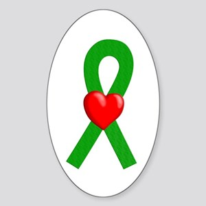 Green Ribbon Heart Oval Sticker
