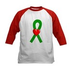 Green Ribbon Heart Kids Baseball Jersey