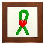 Green Ribbon Heart Framed Tile