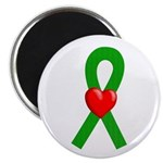 Green Ribbon Heart Magnet