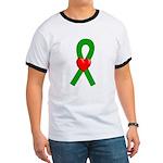 Green Ribbon Heart Ringer T
