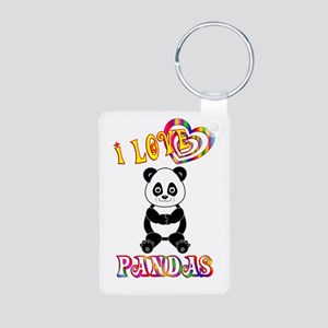I Love Pandas Aluminum Photo Keychain